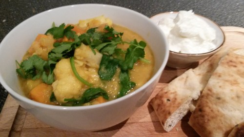 Dhal with sweet potatoes, cauliflower and spinach