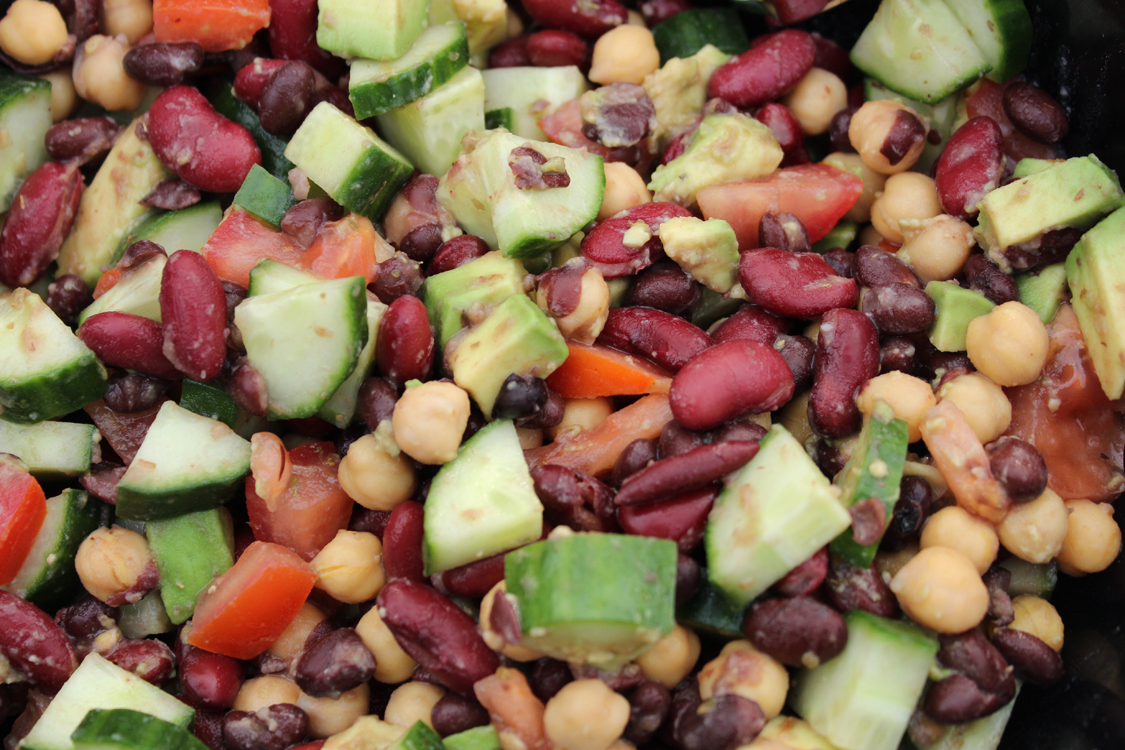 Three Beans Walk into a Salad… Three Bean Salad -- Great for Picnics and Meatless Monday! | Running on Happy