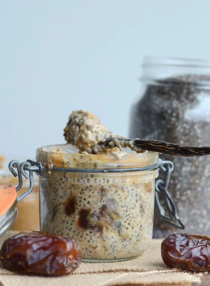 Peanut Butter Chia Seed Pudding with Dates - Vegan