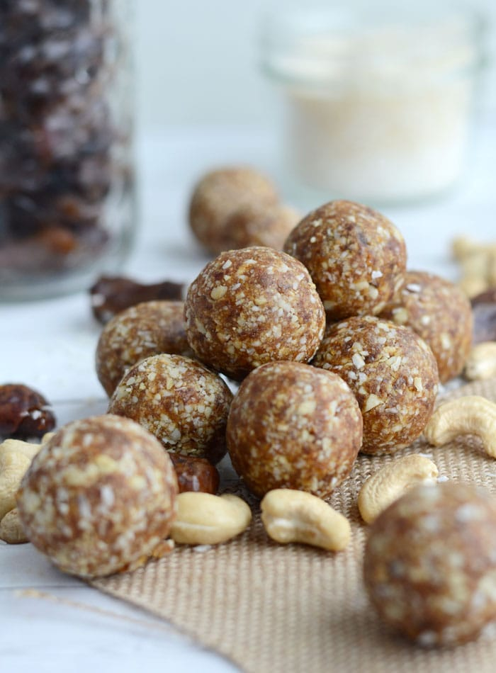 Raw Vegan Cashew Coconut Balls for Natural Energy