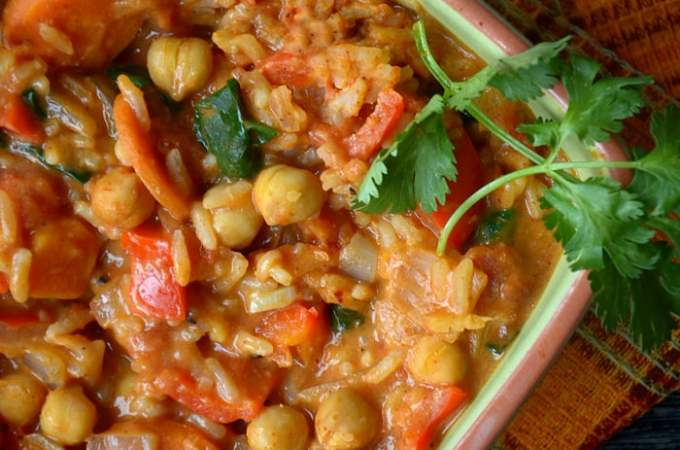 Spicy Peanut Stew with Rice and Chickpeas