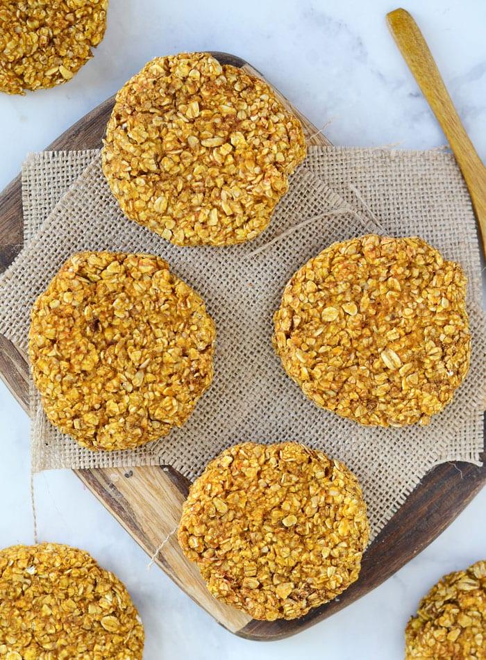 Healthy Pumpkin Oat Cookies - Vegan + Gluten-Free + 3 Ingredients