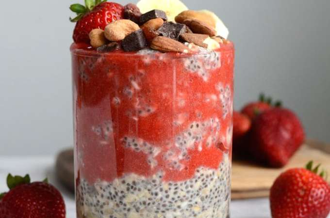 Chia Seed Overnight Oats with Strawberry Coulis