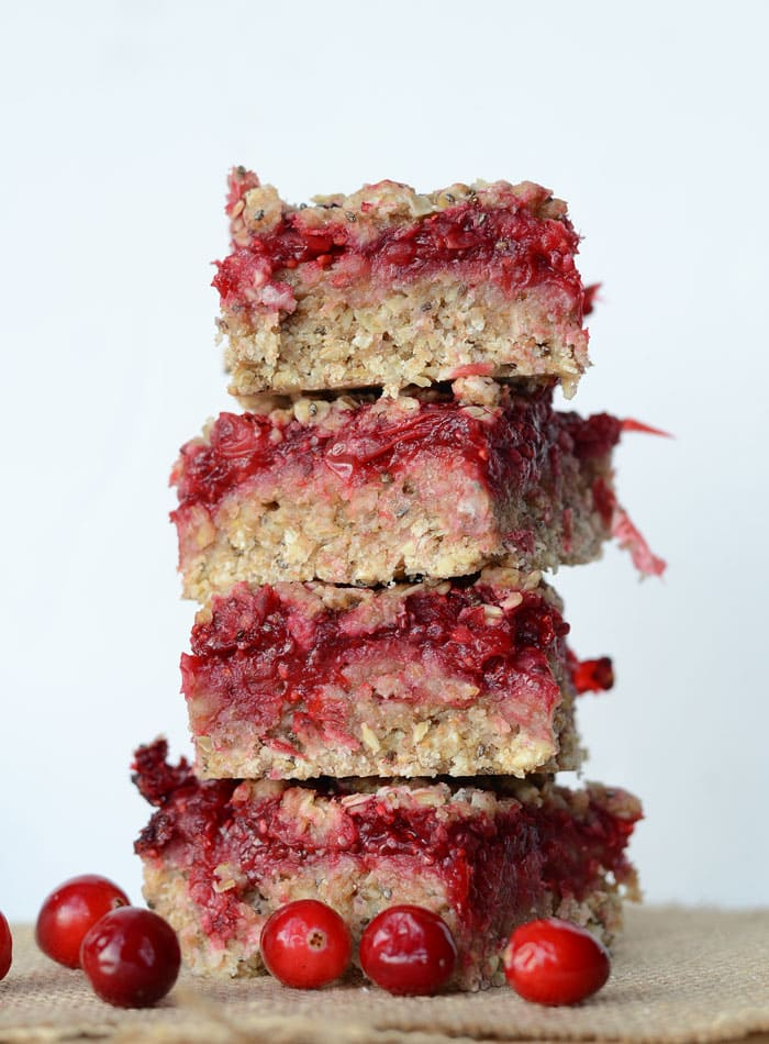 Vegan Cranberry Crumble Bars with Chia Seed Jam