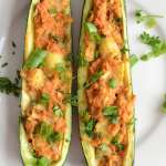 Vegan Twice Baked Stuffed Zucchini