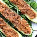 Healthy Chickpea Stuffed Zucchini Boats   vegan, oil-free, gluten-free
