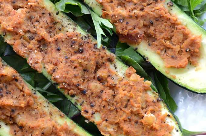 Chickpea Stuffed Zucchini Boats