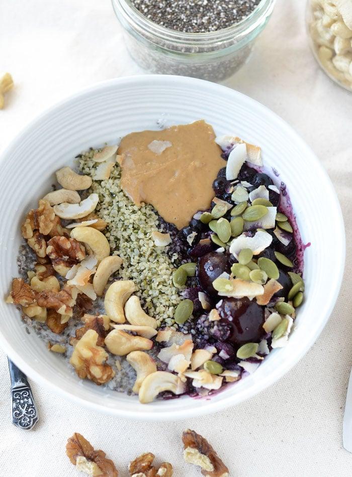 Healthy Grain-Free Coconut Chia Breakfast Bowls | vegan, gluten-free, low carb