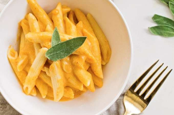 Vegan Penne with Pumpkin Cream Sauce