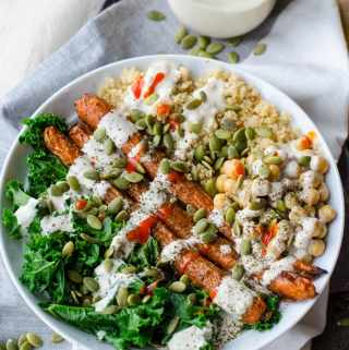 Vegan Whole Roasted Carrot, Kale and Quinoa Bowl with Lemon Tahini Dressing   gluten-free   Running on Real Food