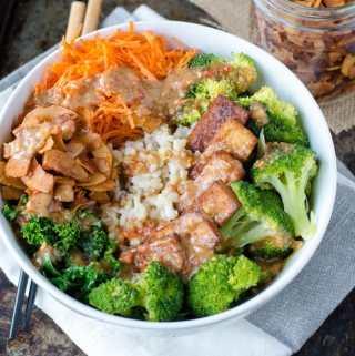 Vegan Broccoli Brown Rice Bowl with Almond Satay Sauce   Running on Real Food