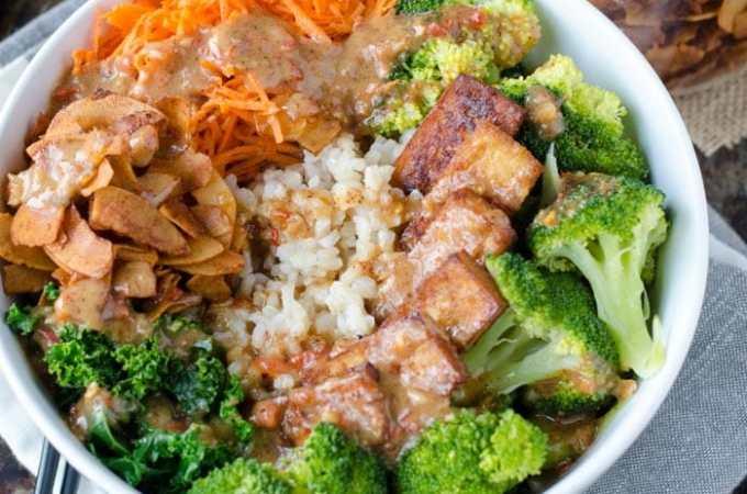 Broccoli Brown Rice Bowl with Almond Satay Sauce