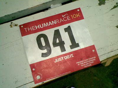 """Yes, this was the race number from """"The Human Race"""" held earlier this year.  It served as our """"ID"""" which I think is ingenious!  I had to take a picture before it got """"broken-in."""""""