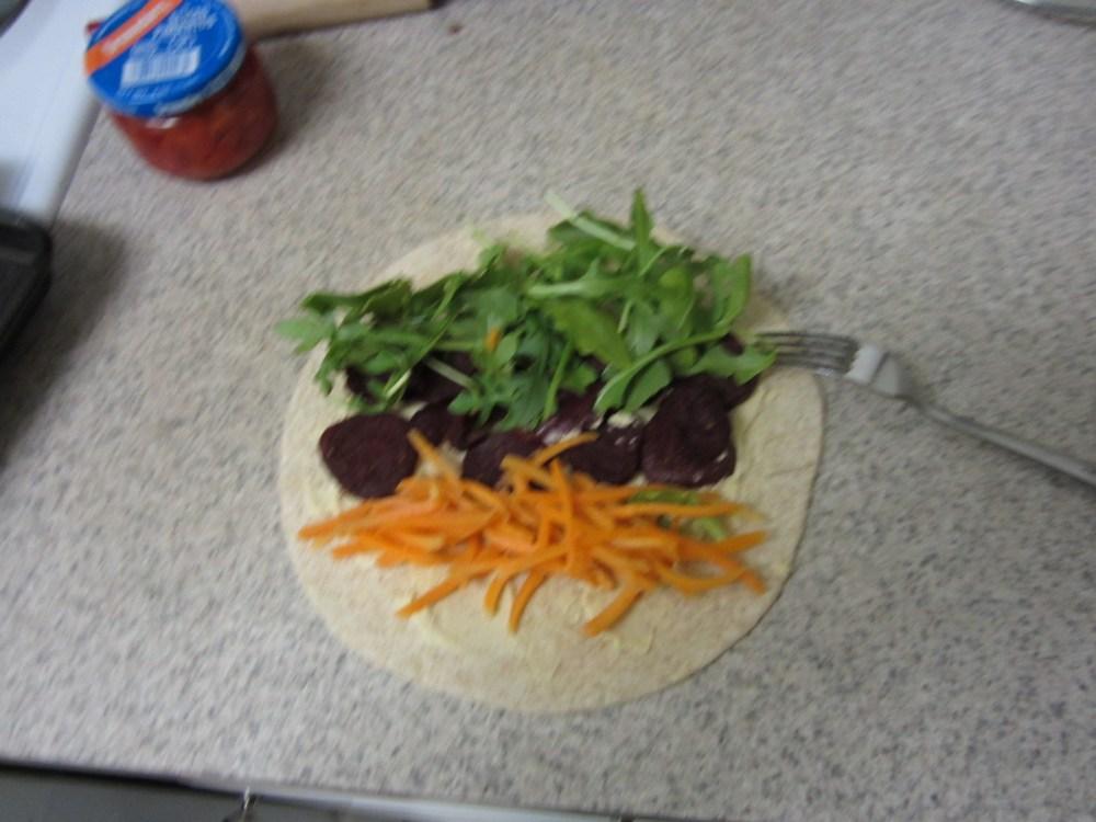 Easy work week lunch - Vegan Roasted Beet and Hummus Wrap (3/3)