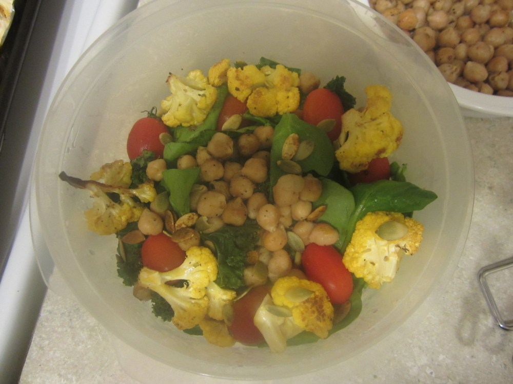 Lunch Recipe:  Roasted Caulifower, Chickpea and Kale Salad (5/6)