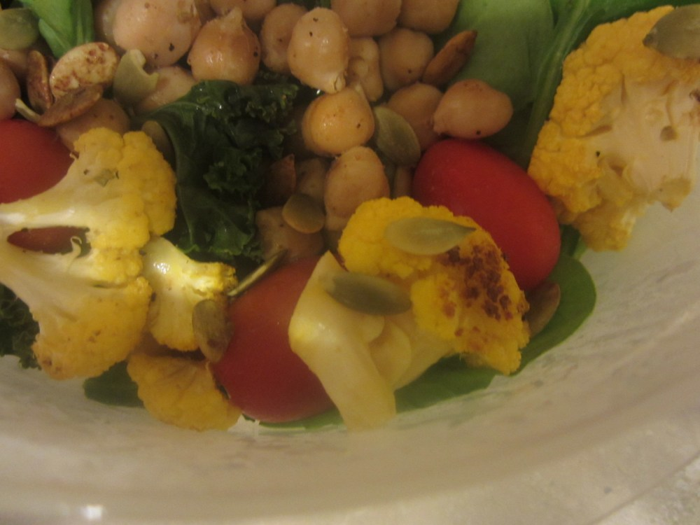 Lunch Recipe:  Roasted Caulifower, Chickpea and Kale Salad (6/6)