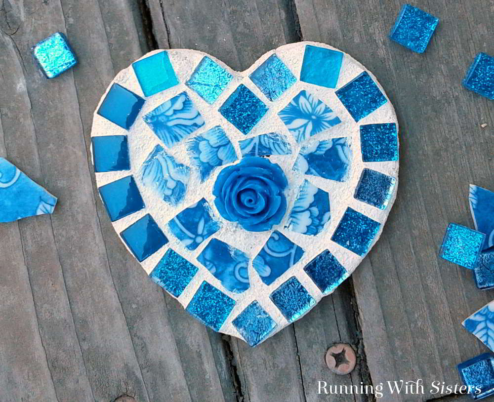 DIY Mosaic Broken China Heart Mosaic  Running With Sisters