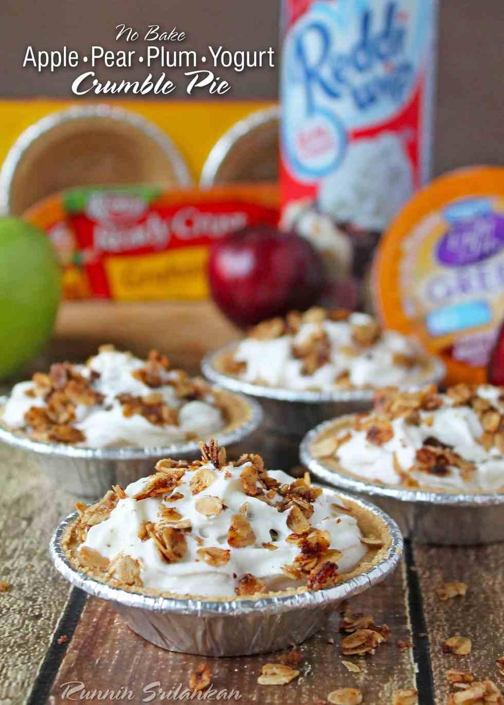 No Bake Apple Pear Plum Yogurt Crumble Pie #EffortlessPies