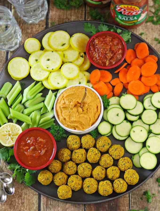 Salsa Hummus Dip & Picante Falafel Bites Snack Platter for Gameday #makegametimesaucy