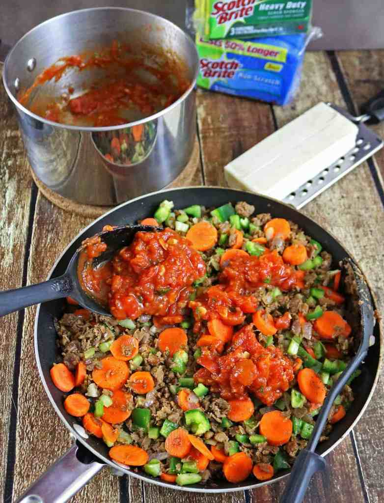 Cheesy Tomato Veggie Crumble Casserole #scrubseason