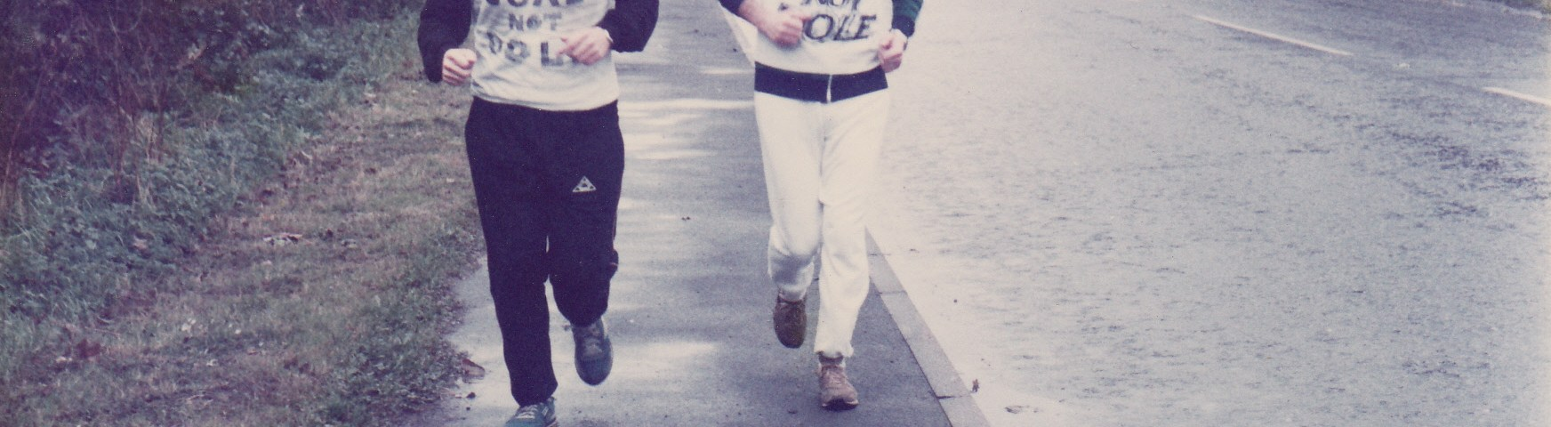 Former Mile Cross Middle School teacher Bert Bremner, left on the Norwich to Ollerton Run in 1984