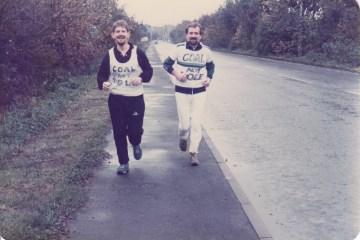 Former Mile Cross Middle School teacher Bert Bremner, left on the Norwich to Ollerton Run in 1984