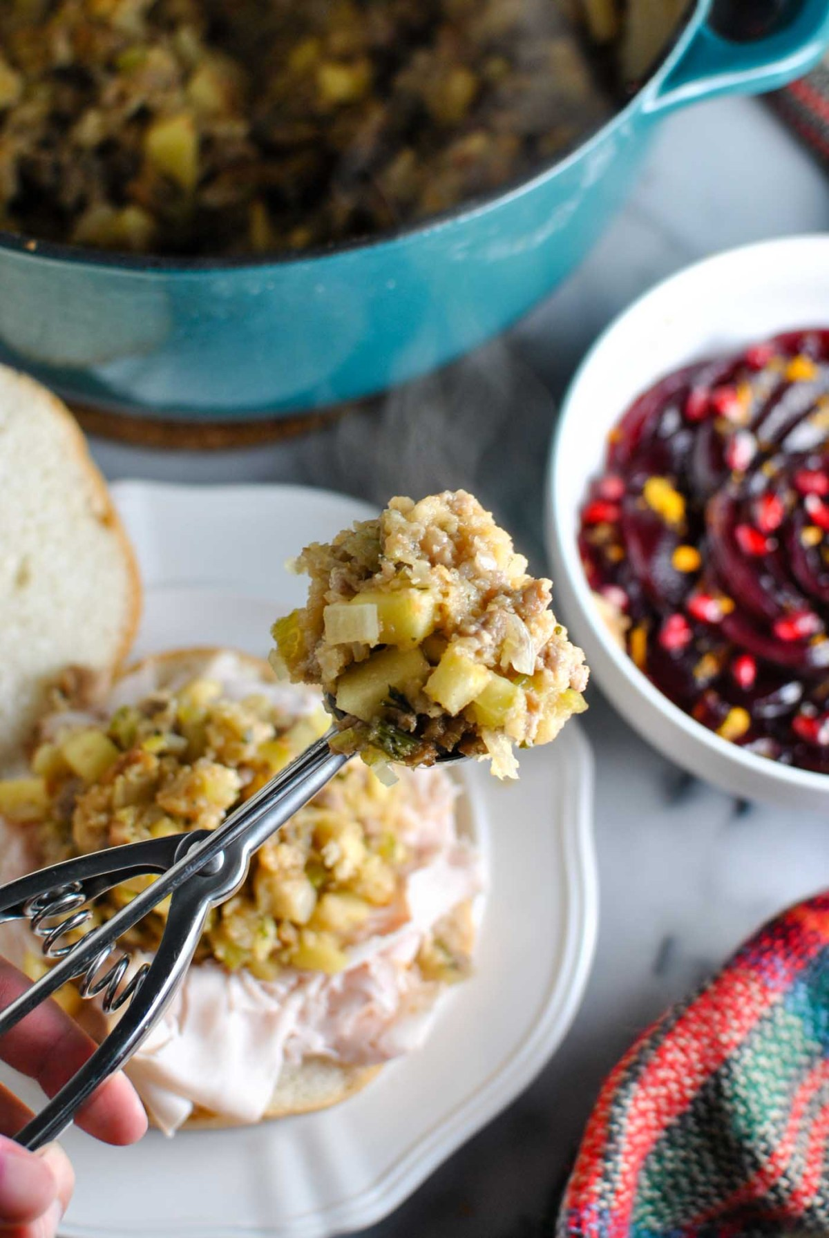 ummm I'm SO excited to share my momma's stuffing recipe with you guys. it's delish and amazingggg in a thanksgiving sandwich! turkey, cranberry, and STUFFING on a roll.   thepikeplacekitchen.com