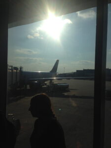 Finally just about on my way. US Airways plane to Rome