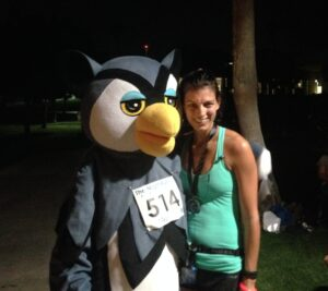 """Post Race Photo Op with """"Night Al"""" Official Mascot of The Night Run"""