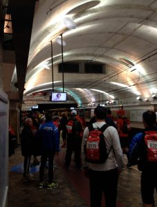 At Termini, waiting for the metro. Free for runners on race day.