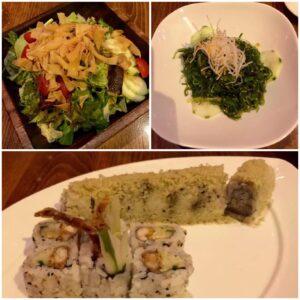 Sushi Taiyo, Chicago, Ginger Salad, Seaweed Salad, Honey Roll, Spider Roll