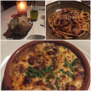 ferraro's bar e ristorante, four seasons, maui, wailea, lasagna, bucatini d'amatriciana, bread