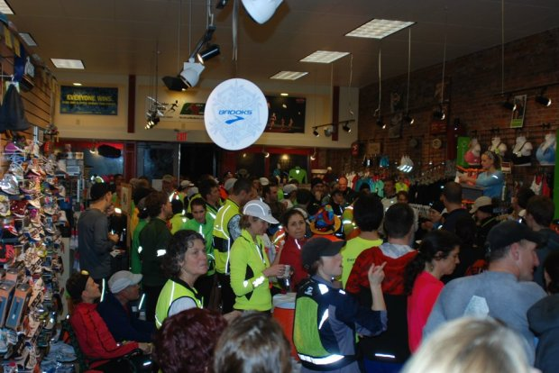 Runners at the 2012 Brooks Nightlife Run. -Photo by Gallagher Fitness