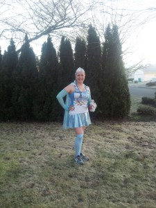 Here is a pic of me in them for my Elsa Frozen costume. They match perfectly!   Also hey sill lok great several runs later.