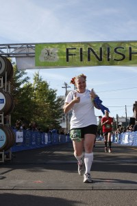 Maryalicia finishes smiling at the 2012 Oregon Wine Country Half Course