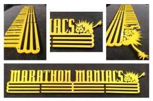 Allied Medal Displays special Yellow Coated Marathon Maniacs Brand New option