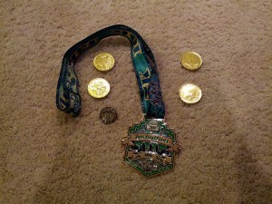 Luckython race medal, pin, and chocolate coins (photo by Tung Yin)