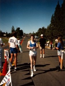 Joe crosses the line  at the 1989 Smith Rock 10k.