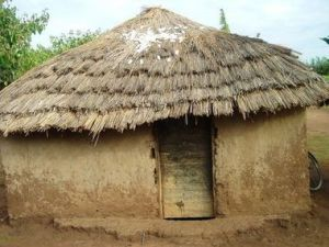 A hut in Awake, Uganda, like the one Achon's family lived in. Credit: Stephanie Musho, AUCF