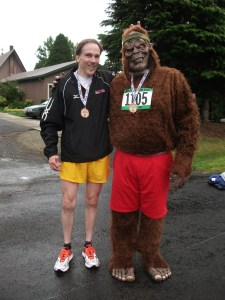 """Joe discovers that Bigfoot is too tall to give the """"bunny ears"""" to. (Janelle Dickerson photo)"""