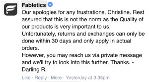 Fabletics doesn't stand behind the quality of its products.