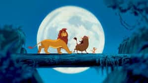 hakuna matata log scene from lion king with simba, timon, and pumbaa