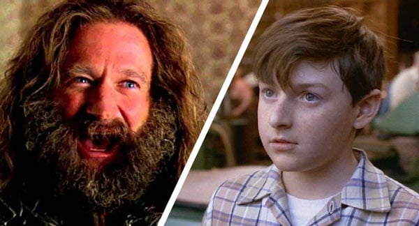 Robin Williams and Adam Hann Byrd as Alan Parrish in Jumanji