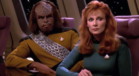 klingon worf and dr crusher from star trek