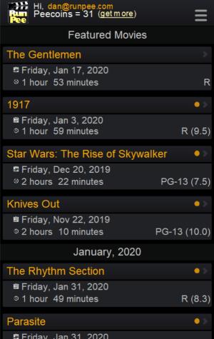 RunPee app - Movie List screen