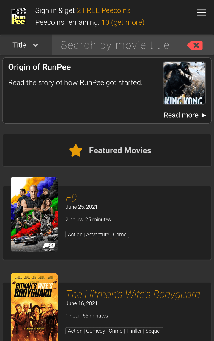 RunPee Movie List Screen (Home)