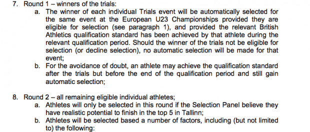 European Championships selection policy
