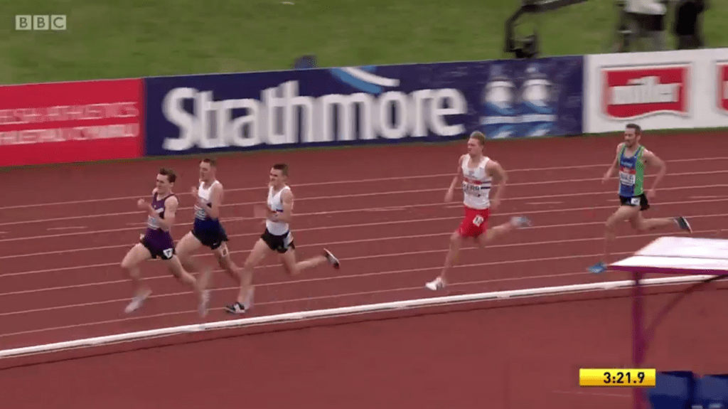 Tight finish at the end of the men's 1500m