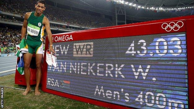 Wayde Van Nierkerk broke the men's 400m WR