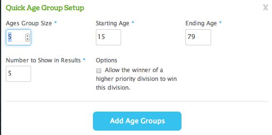 Quick Age Group Setup